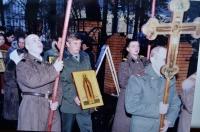 Первая Божественная литургия в храме-часовне св. мч. Иоанна Воина 17.12.1999 г